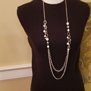 NEW  Paparazzi Long White Bead and Silver Necklace